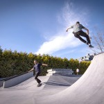 Students shred it out in North America's first campus skate park. Photo credit: Jamil Rhajiak