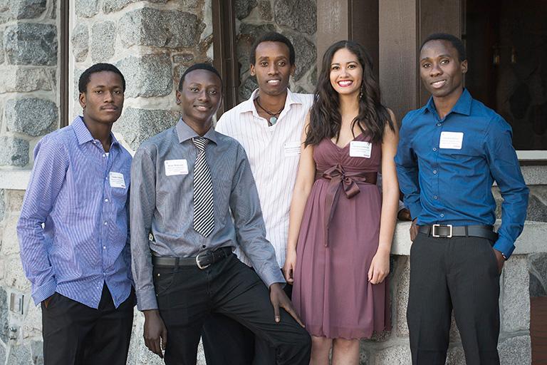 Mastercard Foundation Scholars from left to right: Teboho Sefuthi, Brian Mukeswe, Patrick Munyurangabo, Tamara Lottering and Johnston Kirimo. Photo credit: Martin Dee