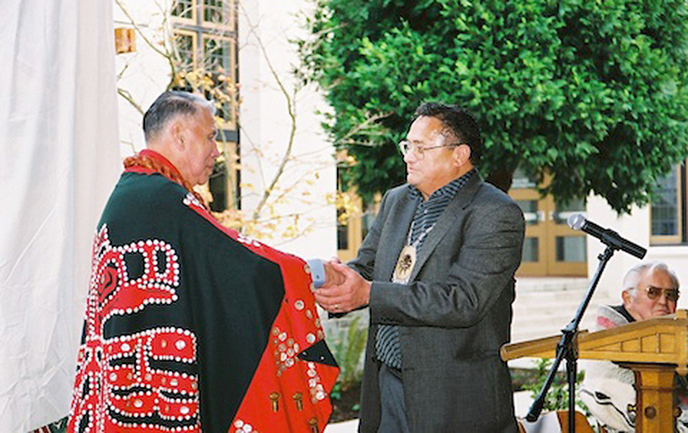 Chief Campbell (right) with Edwin Newman at the dedication of the Victory Through Honour Pole, 2005