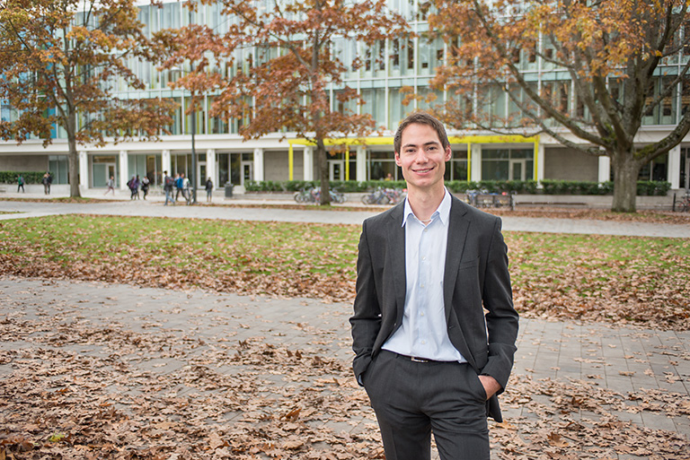 MBA graduate Dustin Sproat walked away from the Dragon's Den meeting with $250,000 for 33.3 percent – and the nearly unprecedented support of all five of Canada's best business minds. Photo credit: Sauder School of Business