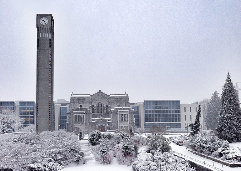 Clock tower and Ike Barber Learning Centre after the first snow fall. Photo credit: Mark Pilon