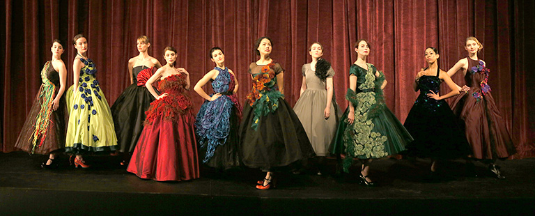 A collection of ball gowns from the 'Fashioning Cancer' collection. Photo credit: Tim Matheson