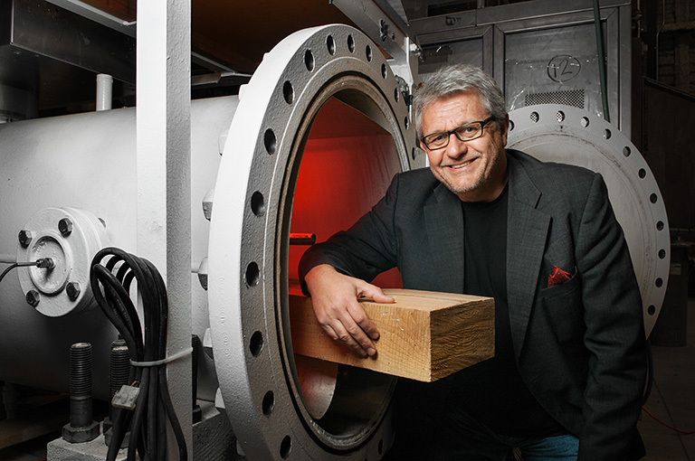 Stavros Avramidis, professor of Wood Science in the UBC Faculty of Forestry has found a way to sterilize wood sustainably. Photo credit: Martin Dee
